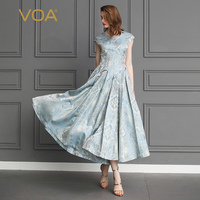 VOA Heavy Silk Jacquard Pleated Dresses Women Maxi Long Dress Slim High Waist Vintage Elegant Rococo