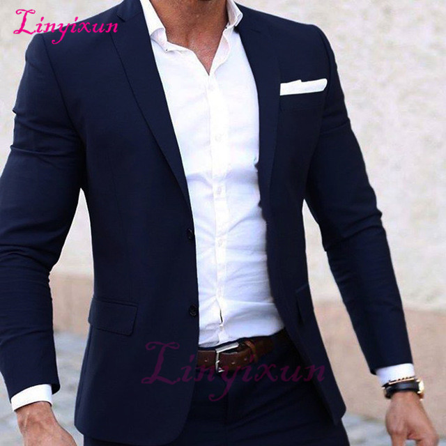 Mens Summer Wedding Attire.Us 61 44 52 Off Linyixun Summer Suit Custom Made Light Weight Breathable Men Suit Navy Blue Cool Tailor Made Summer Wedding Attire For Men In Suits