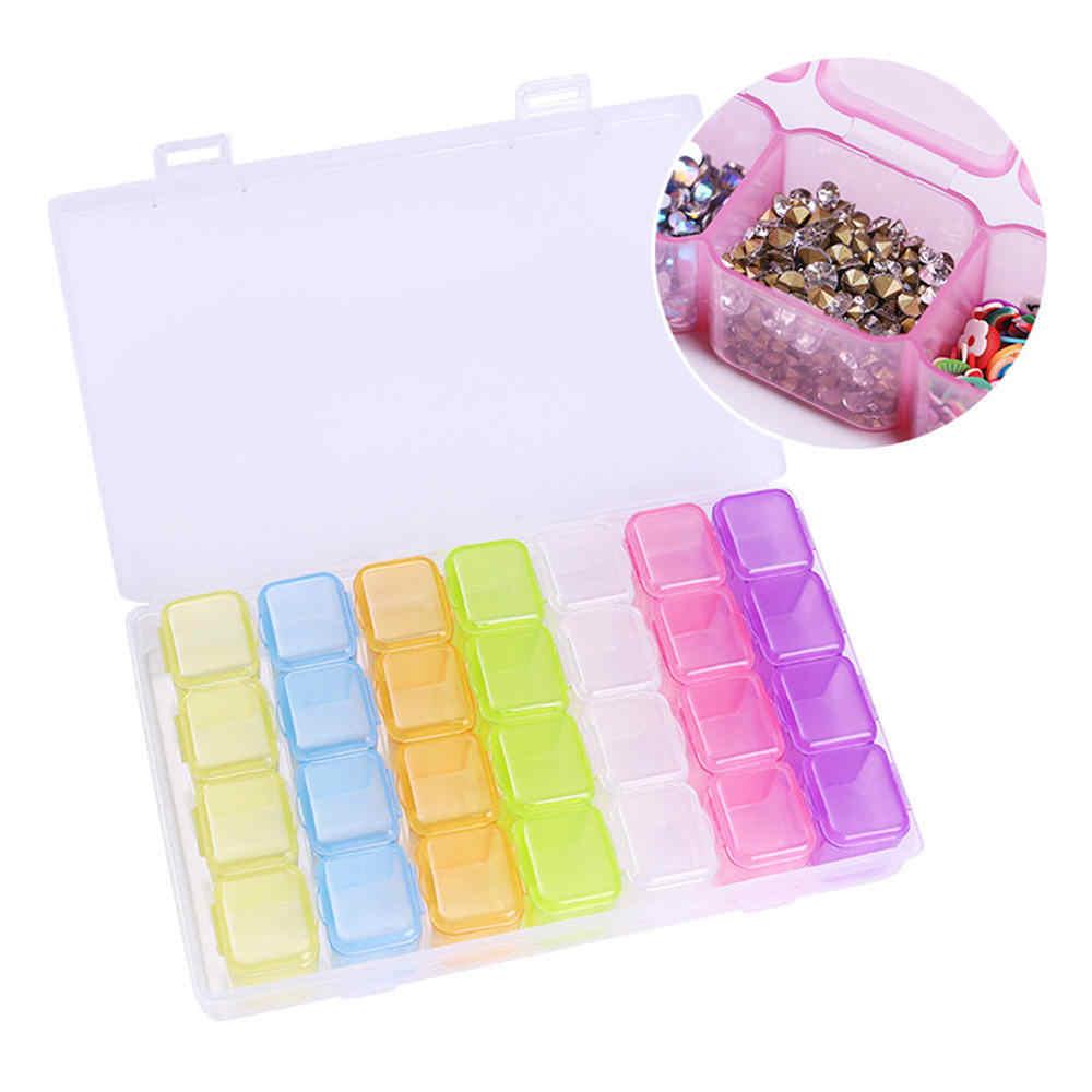 Colorful Nail Art Penyimpanan Case Berlian Imitasi Permata Aksesoris Transparan Layar Kosong Wadah untuk Manik-manik Organizer Kotak