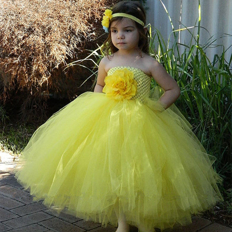 Yellow,Pink Flowers Tutu Dress Kids Girls Tulle Princess Dress Children Girl Wedding Party Pageant Ball Gown Dresses Costumes children girls christmas dress kids tulle new year clothes fancy princess ball gown baby girl xmas party tutu dress costumes