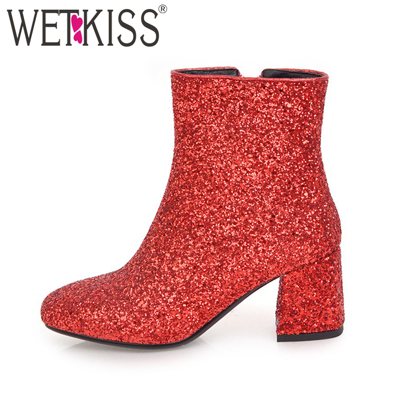 WETKISS 2018 Bling Bling Upper Ladies Ankle Boots Sequined Fashion Women Shoes Zipper Thick High Heels Square toe Winter Boots wetkiss genuine leather ankle boots women patent square toe zipper female boot autumn thick high heels winter boots woman shoes