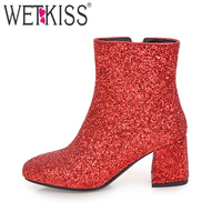 WETKISS 2018 Bling Bling Upper Ladies Ankle Boots Sequined Fashion Women Shoes Zipper Thick High Heels