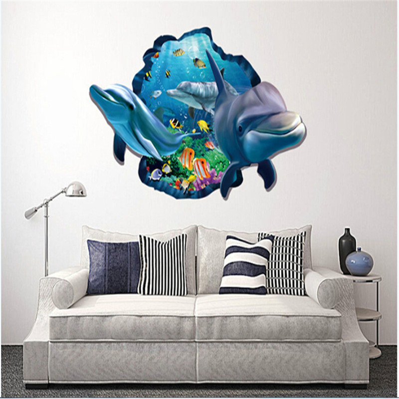 Hot Selling 3D Dolphins Wall Stickers For Livingroom Background Wall Posters Decals For Kids Rooms Home Decoration Accessories