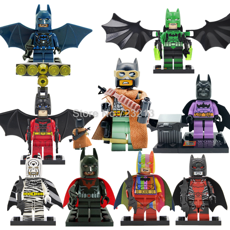 Single Sale Super Hero Rainbow Batman Figure Set Bat Man DC Superheroes Building Blocks Brick Kits Toys for Children