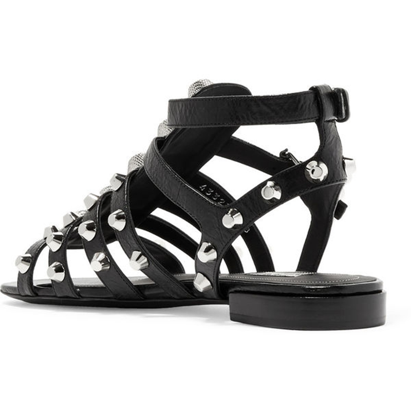 ENMAYER Rivets Women Sandals Low heel Gladiator shoes Metal decoration Open toe Summer Causal shoes Buckle strap Cool Sale CR48 in High Heels from Shoes