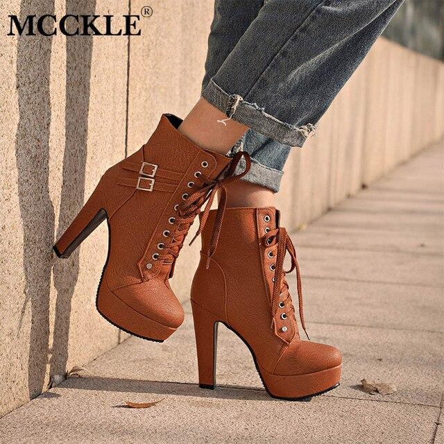 Mcckle/ботильоны для Для женщин женские высокие каблуки 2017 на шнуровке женская обувь на осень на платформе с пряжкой полусапожки плюс Размеры Mujer Botas