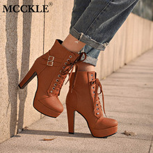 MCCKLE Plus Size Ankle Boots For Women Platform High Heels Female Lace Up  Shoes Woman Buckle