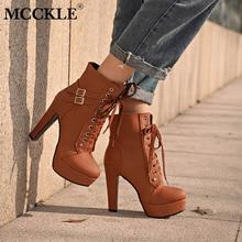 MCCKLE/плюс Размеры ботильоны для Для женщин платформа на высоких каблуках женские на шнуровке женская обувь с пряжкой полусапожки Повседневное женская обувь