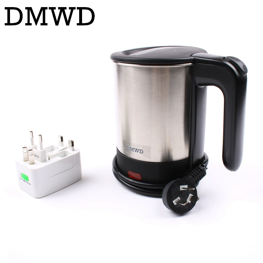 DMWD Dual Voltage Travel water Heating Kettle MINI Electric kettle cup heater Portable stainless steel tea pot boiler 110V-220V high quality electric kettle double wall insulation quick heating digital electric thermos water boiler home appliances for tea