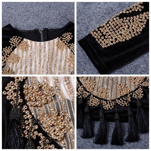 Celebrity Runway Velvet Jacket O neck Black Gold Beading mesh sequins Tassels Long Sleeve Sexy Women Basic Coats 5