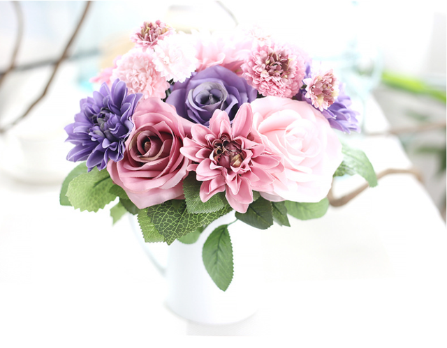 Artificial Silk Flower Bouquet Dahlia Wedding Rose Bouquet Wedding ...