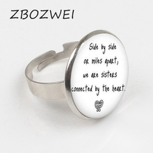 ZBOZWEI 2018 bronze quote Long Distance Sister Ring Sister Pendant I love my Sister Ring side by side Ring sister sister