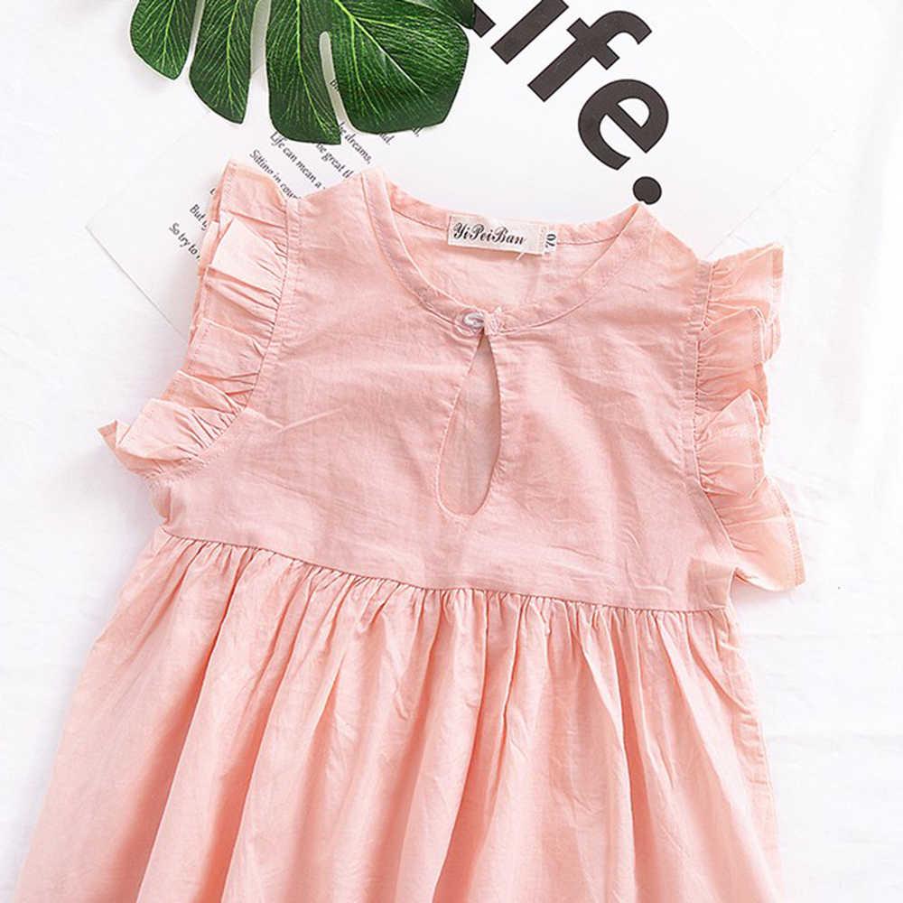 Лидер продаж! Летние девушки сладкий розовое платье принцессы Милые Повседневное Ruched развевающиеся рукава платье длиной выше колена Мини Платье для маленьких девочек Костюмы