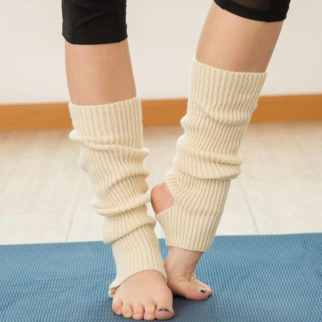 Woman  Professional Yoga Socks Acrylic 43CM Latin Dance Leg Sets Knit Sports Protective Wool Yoga Boots Cover