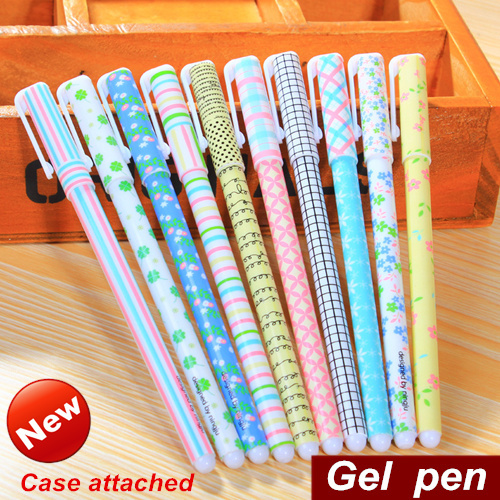 10 pcs/set Color Gel pen Flower and Plaid design pen for writing Gift Stationery Caneta escolar gift Office school supplies 6214