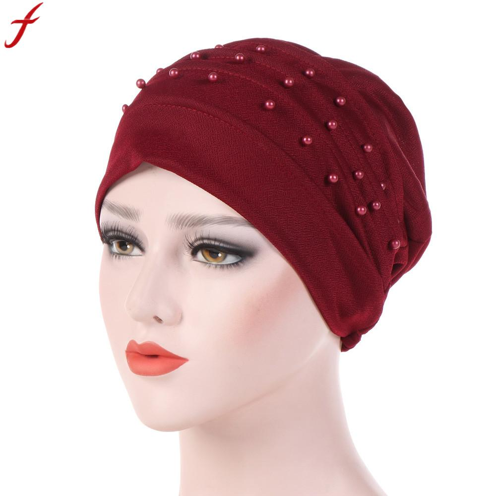 India Hat Muslim Ruffle Cancer Chemo Hat  2018 New Arrival Winter  Beading Beanie Scarf Turban Wrap Cap For Women bonnet femme Блузка