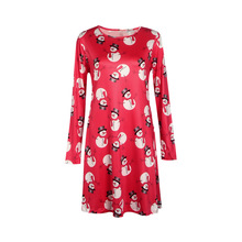 S XL 2 colors 5 sizes Christmas Snowman Snowflake Print Dress 2016 Winter Vintage Sexy Snowman