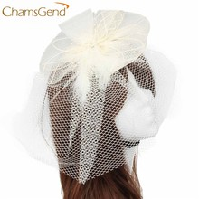 29370b3f5 (Ship from US) Newly Design Wedding Fascinator Veil Feather Hard Yarn Headband  Hats Women Brides Hair Accessories May7 ZQ Drop Shipping