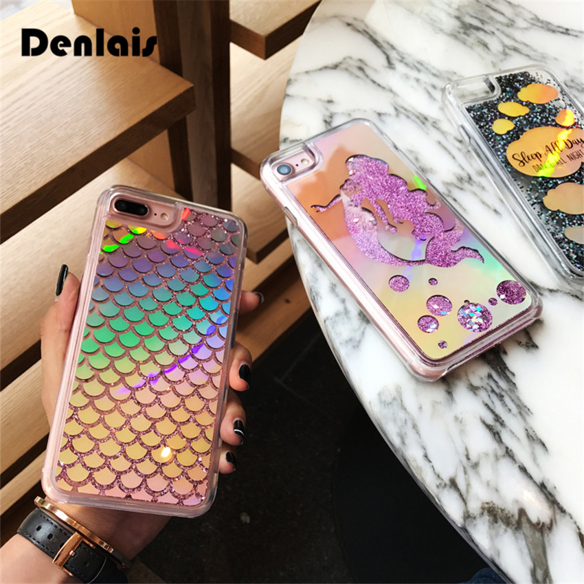 hot sales f7fad 324b4 US $3.99 |Bling Liquid Dynamic Quicksand Cases Mermaid Scales Glitter  Cartoon Shinny Laser Phone Cases For iPhone X 8 7 7Plus 6 6S 6Plus-in ...
