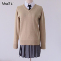 Japanese Preppy Style Uniform Sweater Women Men Student V Neck Long Sleeve Pullovers JK Cosplay Cotton Knitted Sweaters