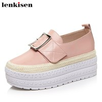 Lenkisen 2018 solid round toe slip on cow leather spring brand buckle med thick bottom party meeting women vulcanized shoes L01