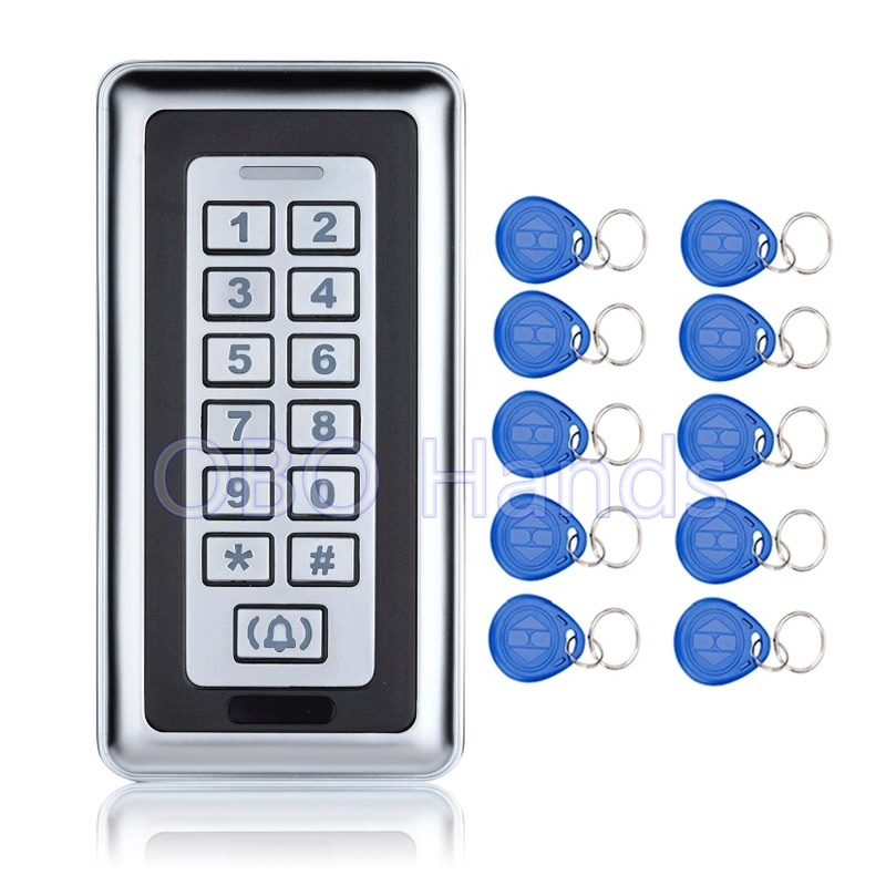 125KHZ Metal Access Controller Keypad System With Door Bell Button RFID Waterproof Door Lock K87 Silver+10 TK4100 Keychains/fobs metal rfid em card reader ip68 waterproof metal standalone door lock access control system with keypad 2000 card users capacity