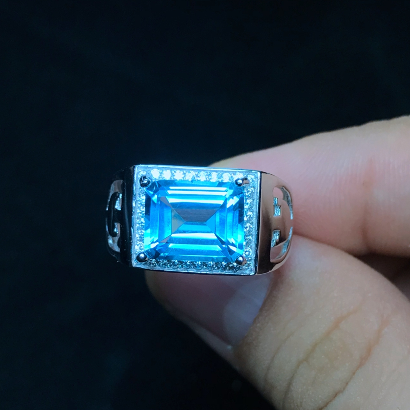 Natural topaz men s ring 925 silver exquisite craftsmanship simple style beautiful color