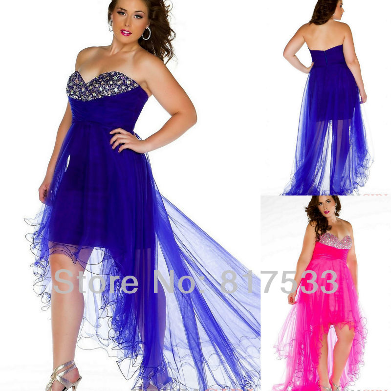Plus Size Blue Sweetheart High Low Prom Dress Chiffon Ruched
