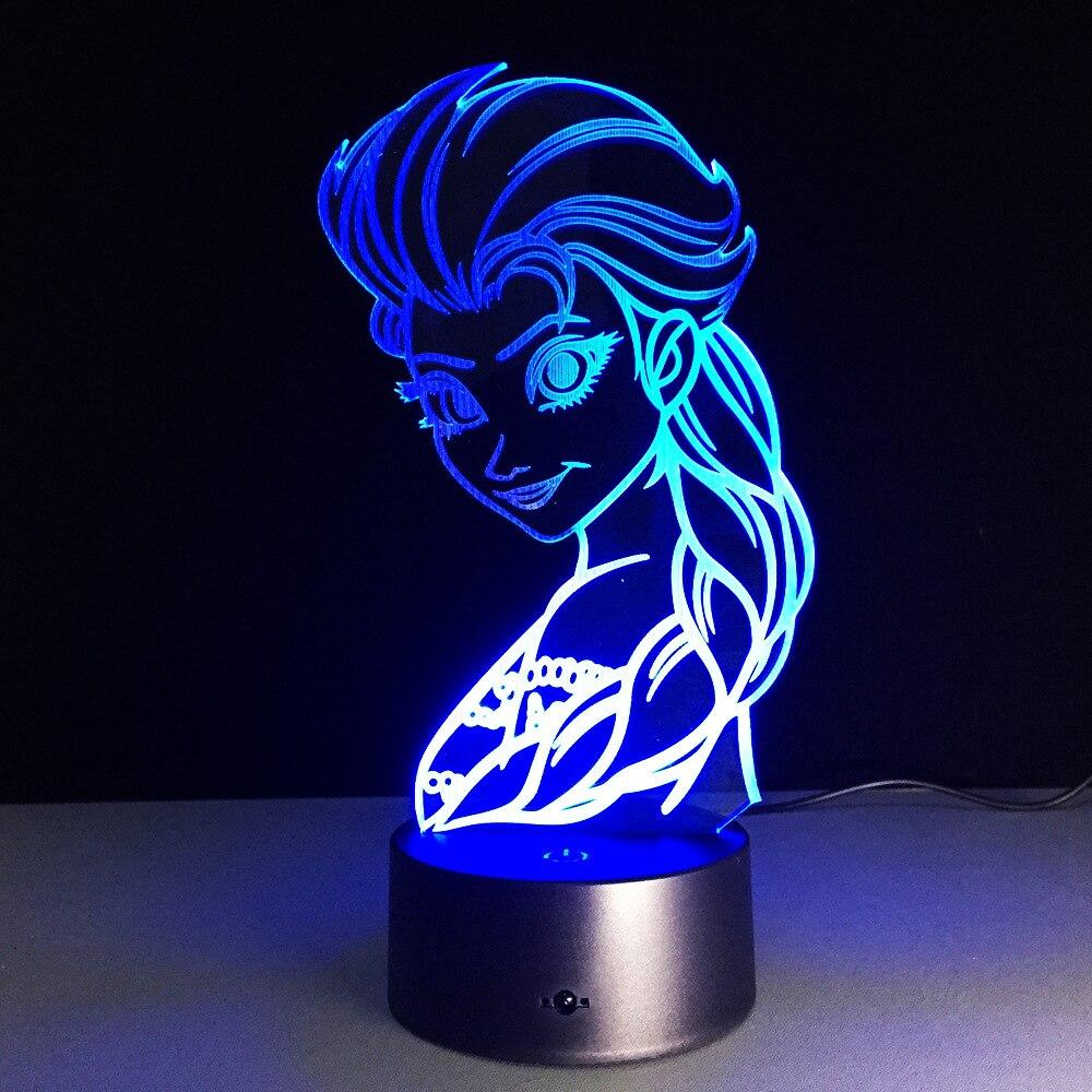 Cartoon Figure 3D Elsa Anna Bulb Night Light LED Lamp 7 Colorful Atmosphere Gadget Decor Bedroom Baby Girl Kids Gifts Dropship