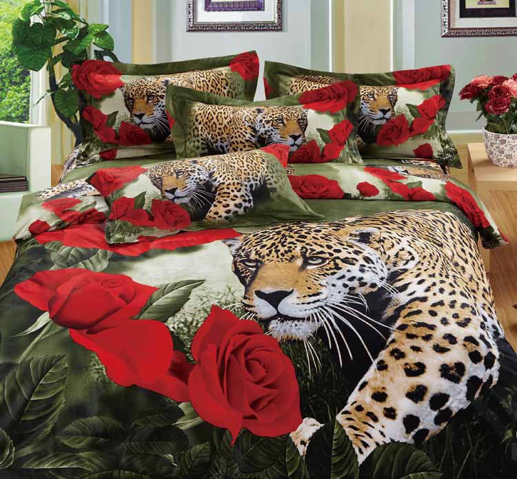 7pcs 3d Red Rose Flower Leopard Print Bedding Sets