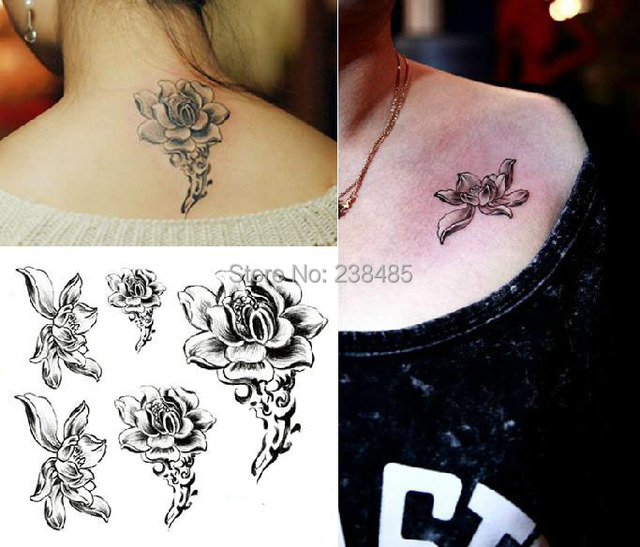 Waterproof Fake Tattoo Stickers Colored Water Lily Lotus Flower