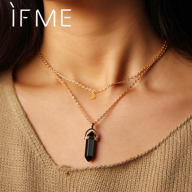 Steampunk Vintage 2 Layer Color Natural Stone Pendants Choker Necklaces Gold Color Moon Necklace