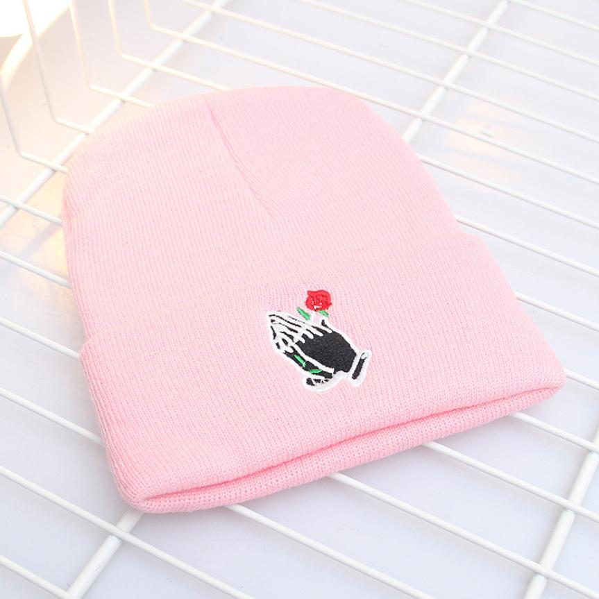 Brandwen Autumn & Winter Fashion Hand Embroidered Rose Knit Caps For Women  Young Girls Harajuku Style Casual Dailt Cotton Hats-in Skullies & Beanies  from ...