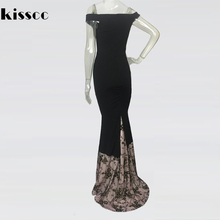 KISSCC Sexy Slash Neck Strapless Sequined Patchwork Bodycon Long Party Dress Off Shoulder Tight Package Hips Floor Length Dress
