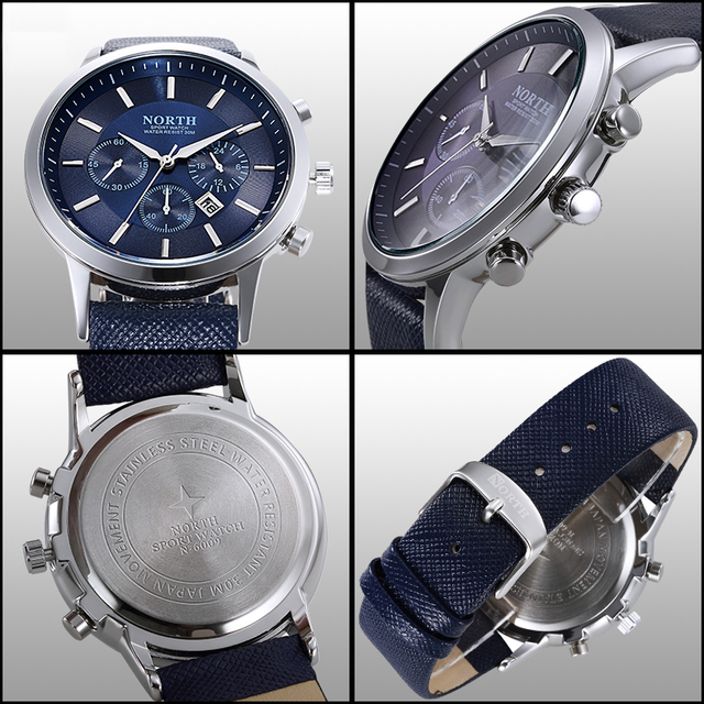 NORTH Men's Fashion Business Watches Luxury Brand Casual Military Waterproof Wristwatch Leather Strap Clock Quartz Watch for man