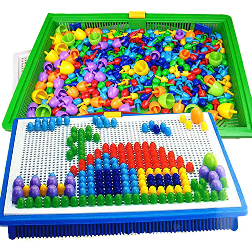 296 Mushroom Nail Intelligent 3d Puzzle Games Diy Mushroom Nail Plastic Flashboard Children Toys Educational Toy Random Color #1