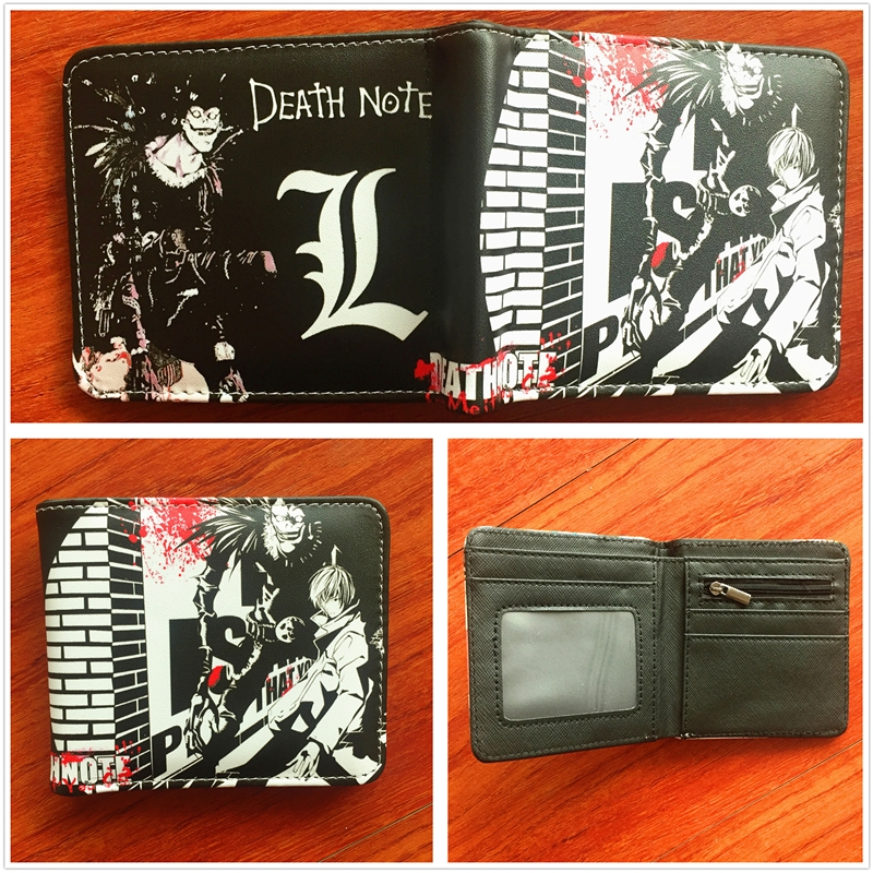 2018 New Anime Death Note Wallet Mens Credit Card Holder Wallet Bifold ID cash Purse Cartoon Pattern W708 2018 new arrivel anime cartoon rick and morty wallet pu leather bifold wallet id credit card holder purse funny gift w720q