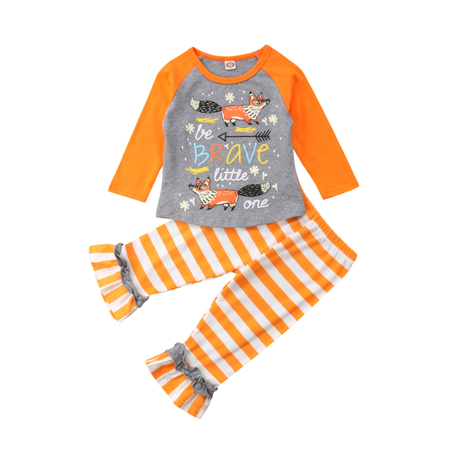 7e65ef0f08548 Emmababy 2019 Infant Baby Girls Fox Printing Tops+Stripe Pants Outfits  Clothes Cotton Set