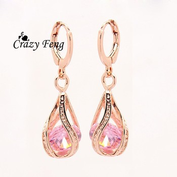 Elegant Pink CZ Crystal Earrings Rose Gold Color Hollow Out Drop Earrings for Women Wedding Party Costume Jewelry brincos Gift 2