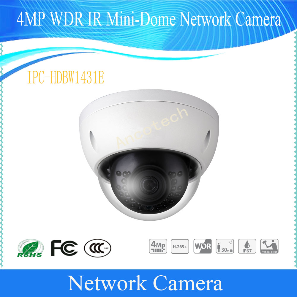Free Shipping  Security IP Camera 4MP Day/Night WDR IR Mini-Dome Network Camera With POE IP67 DH-IPC-HDBW1431EFree Shipping  Security IP Camera 4MP Day/Night WDR IR Mini-Dome Network Camera With POE IP67 DH-IPC-HDBW1431E