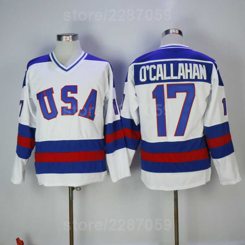 Ediwallen Men Ice Hockey 17 Jack Ocallahan 1980 USA Vintage Jerseys Team  Blue Alternate White For 8288e9f85