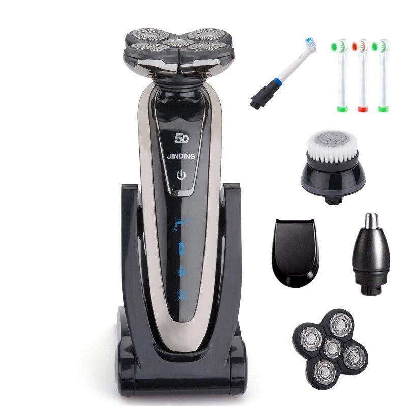 Rotation 5 Lame Rasoir Électrique Rasoir Rechargeable Rasoir Électrique pour Hommes Barbe Rasage Machine Étanche avec Accessoires