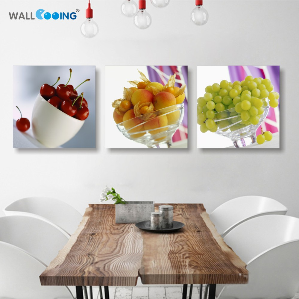 3 panel printed Canvas painting Restaurant Fruits Cherry Grapes Modern Modular pictures On for kitchen decor wall art for living