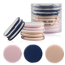Juego de 8 unidades de esponjas de maquillaje cojín inflable en forma redonda, base líquida correctora de doble uso en seco y húmedo, BB/CC