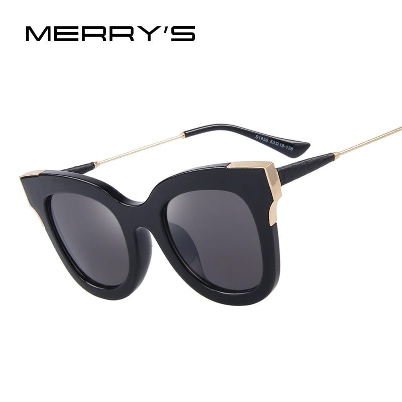 MERRY'S Fashion Women Cat Eye Sunglasses Brand Designer Retro Pierced Female Sun Glasses S'8049