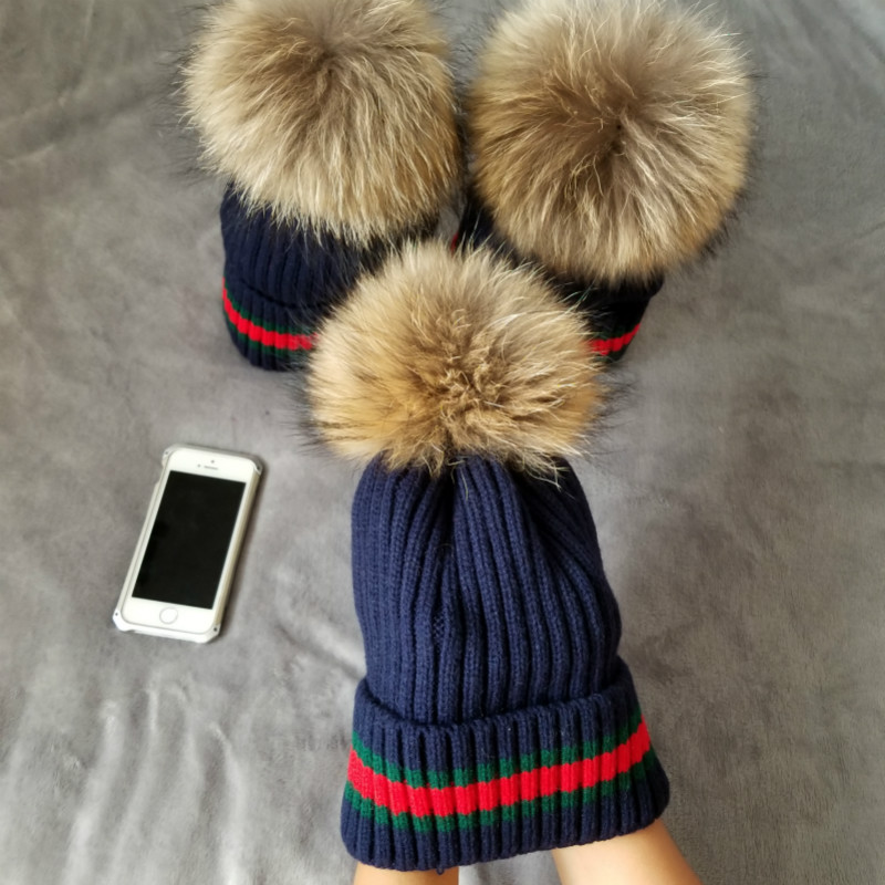 Gray Mink raccoon Fur Ball Cap Pom Poms Winter Hat For Women Girl 'S Wool Hat Knitted Cotton Beanies Caps Brand Thick Female Cap new star spring cotton baby hat for 6 months 2 years with fluffy raccoon fox fur pom poms touca kids caps for boys and girls