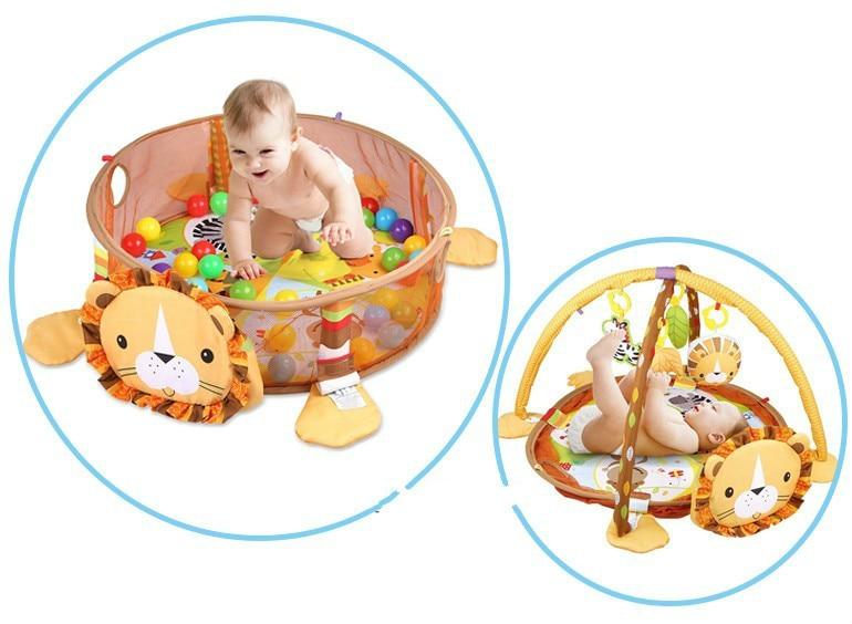 HTB1.v1oXyfrK1RjSspbq6A4pFXav 3 In 1 Baby Play Mat Round Lion Turtle Crawling Blanket Infant Game Pad Play Rug Kids Activity Mat Gym Folding Tapete Infantil