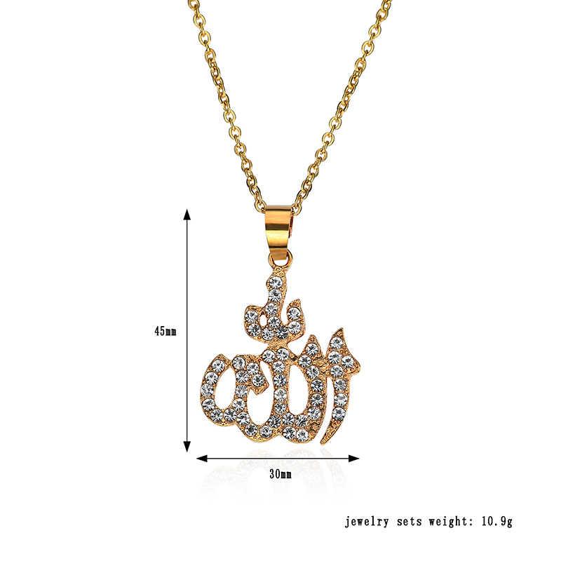 Miedź mężczyźni złoto Iced Out muzułmanin Allah naszyjnik Hiphop kubański łańcuch islamski Koran litera z cyrkonią długi naszyjnik
