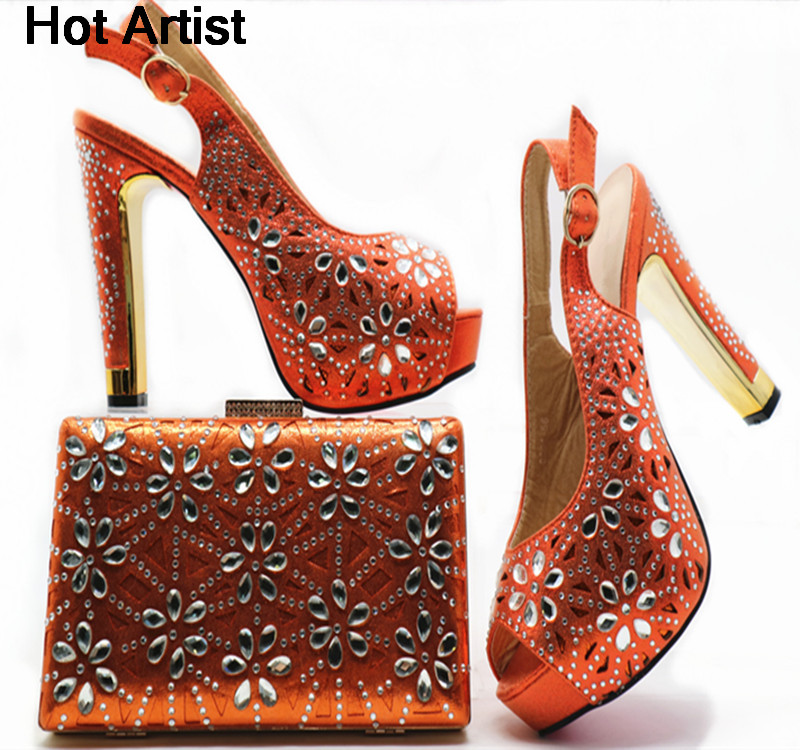 a55b5407188 Hot Artist African Design Rhinestone Pink Color Shoes And Bag Set New  Nigerian Woman High Heels Shoes With Bag Set For Party G49-in Women's Pumps  from ...