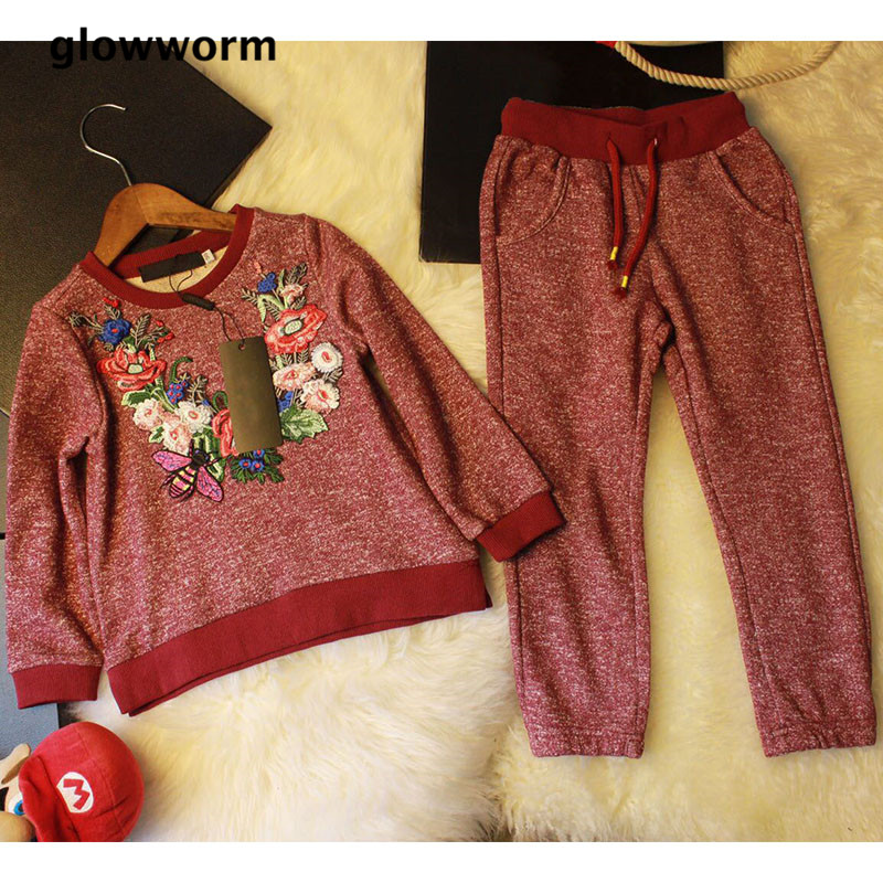 Здесь продается  GlowwormKids New Runway Spring Autumn Childrens Clothes Sets Embroidery Flower Honeybee Boys Girls Cotton Sports Sets 2-7T hs058  Детские товары